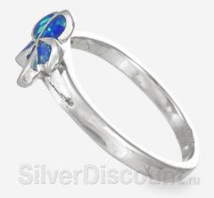 Миниатюрное женское кольцо с цветком и опалом