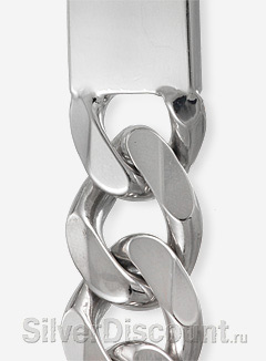 Родированный плоский серебряный браслет под гравировку (фрагмент фото)