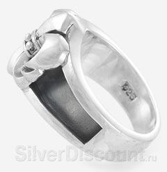 Массивная мужская печатка из серебра, вид боку