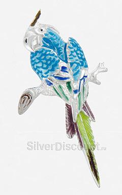 Большой попугай из серебра с голубой эмалью