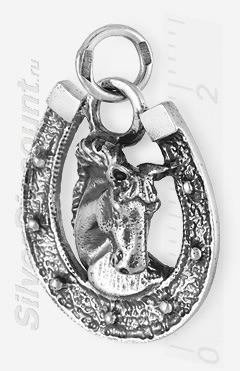 Красивый кулон из серебра с подковой и лошадью
