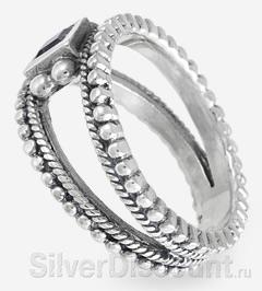 Кольцо из серебра с аметистом необычного стиля