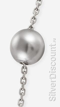 Жемчужина на серебряной цепочке браслета (на фото - серая майорика)