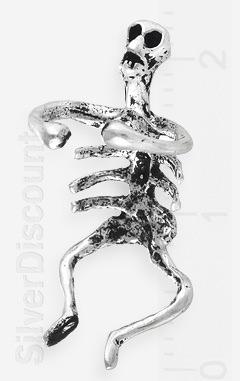 Миниатюрный серебряный скелет - каффа для уха