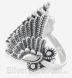 Крылатое колечко из серебра, вид сбоку