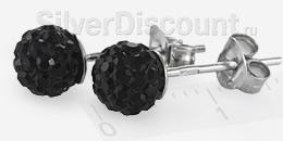 Серьги - пуссеты с шариками черного цвета