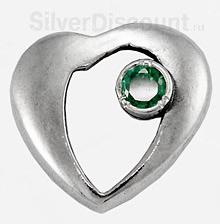 Повеска из серебра с фианитом сердце