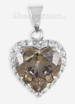 Большой серебряный кулон с сердцем из мистик-топаза