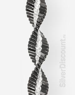 Черно-белый серебряный браслет-спираль