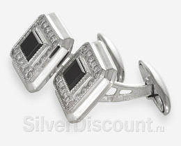 Классические запонки из серебра с фианитами