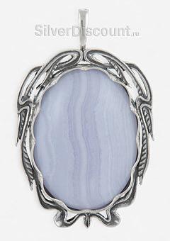 Подвеска-брошь из серебра с голубым агатом