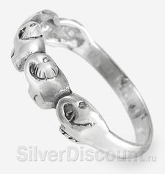 Небольшое серебряное кольцо со слонами, вид сбоку