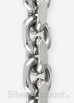 Якорное плетение браслета (серебро с родированным покрытием), фото крупным планом