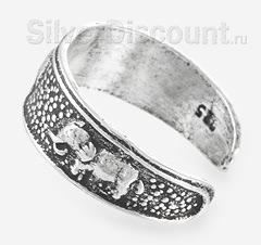 Серебряное кольцо на ногу со слонами, вид сбоку
