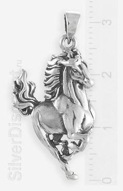 Серебряная лошадка, кулон-подвеска