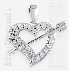 Стрела в сердце, серебряный кулон-подвеска с фианитами