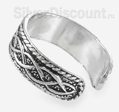 Тройная волна на серебряном безразмерном кольце