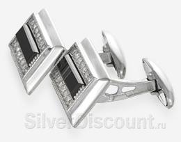 Прямоугольные запонки из серебра, вид сбоку