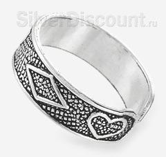 Кольцо с регулируемым размером, серебро, вид сбоку