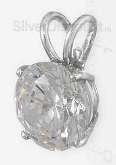 Круглая подвеска с фианитом 8 мм, родированное серебро