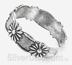 Кольцо из серебра с регулируемым размером, цветы, вид сбоку