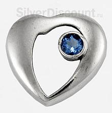 Серебряная подвеска сердце с фианитом
