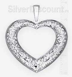 Серебряное сердце с резным цветочным орнаментом