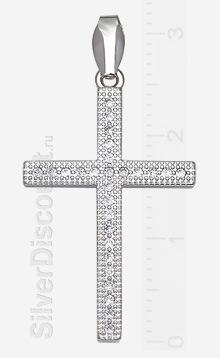 Серебряный крестик с россыпью фианитов