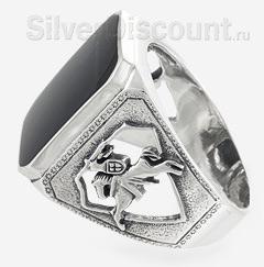 Перстень - печатка с обсидианом, вид сбоку