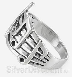 Музыкальное колечко из серебра с нотами, вид сбоку