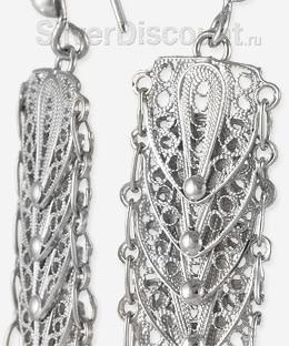 Щиты с филигранью, серьги висячие из серебра с родием