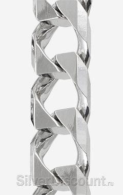 Широкое панцирное плетение, серебро родированное (фрагмент фото)