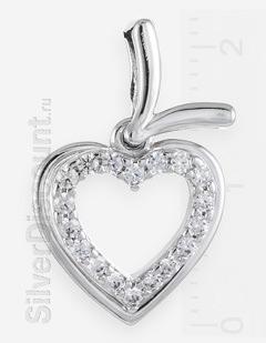 Кулон в форме сердца, подвижный, серебро, родий