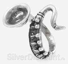 Оригинальное кольцо Саксофон, вид сбоку
