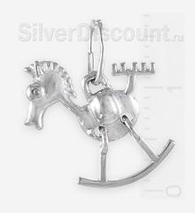 Микро-кулончик в виде лошадки из серебра
