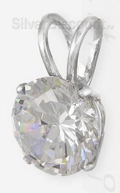 Круглая серебряная подвеска с прозрачным камнем