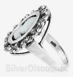 Серебряное кольцо - камея с ониксом, перламутром и марказитами