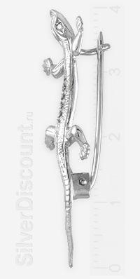 Серебряная брошка с ящеркой, вид сбоку
