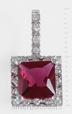 Кулон с квадратным рубином, серебро, радирование