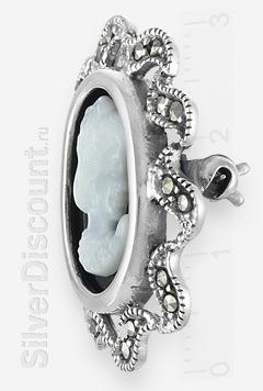Серебряная брошь с камеей, марказиты, оникс, вид сбоку