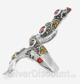 Эффектное кольцо со змеей, серебро, вид сбоку