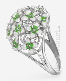 Женский перстень с цветами, серебро, вид сбоку