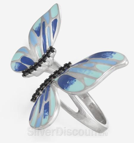 Элегантная бабочка (кольцо) в сине-голубых тонах, серебро