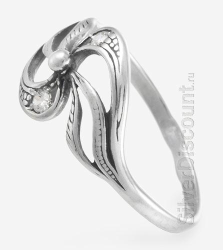 Колечко для девушки цветок из серебра фантазийной формы, вид сбоку