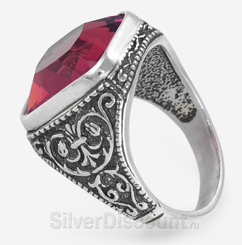 Мужская серебряная печатка с красным камнем