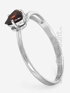 Легкое женское кольцо с гранатом, вид сбоку