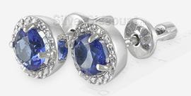 Пусеты с синими и прозрачными фианитами, вид сбоку