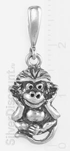 Небольшой кулон в виде обезьянки, серебро