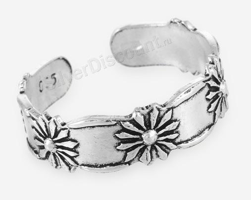 Кольцо на ногу с цветами и светлым ободком