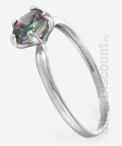 Недорогое кольцо с круглым мистик топазом, серебро